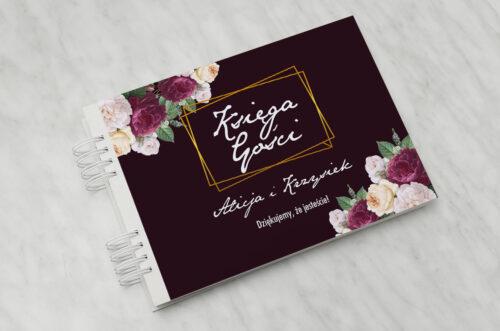 Księga gości ślubnych - Kontrastowe z kwiatami - Kolorowe róże