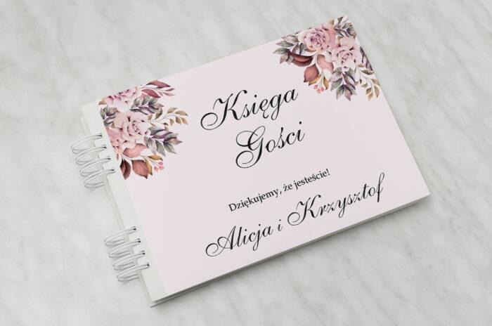 ksiega-gosci-slubnych-do-zaproszenia-kwiatowe-galazki-rozowo-bordowe-roze-papier-matowy-dodatki-ksiega-gosci