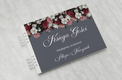 Księga gości ślubnych - Kwiatowe Nawy - Burgundowy bukiet