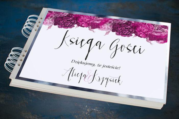 ksiega-gosci-slubnych-kwiatysrebro-fuksjowe-piwonie-papier--dodatki-ksiega-gosci-podkladki-