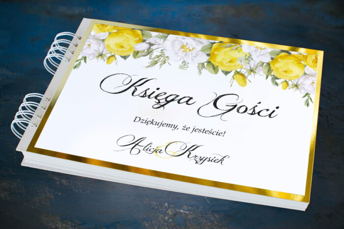 ksiega-gosci-slubnych-kwiatyzloto-zolte-roze-papier--dodatki-ksiega-gosci-podkladki-