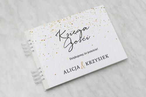 księga gości weselnych - minimalistyczne w złote kropeczki