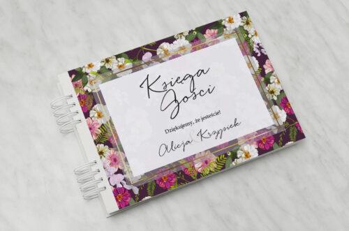 Księga gości ślubnych do zaproszenia Tło z kwiatów – Kolorowe astry