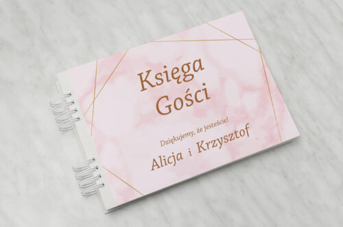 Księga gości ślubnych - Kontrastowe z nawami - Złota Geometria & Różowy Marmurek
