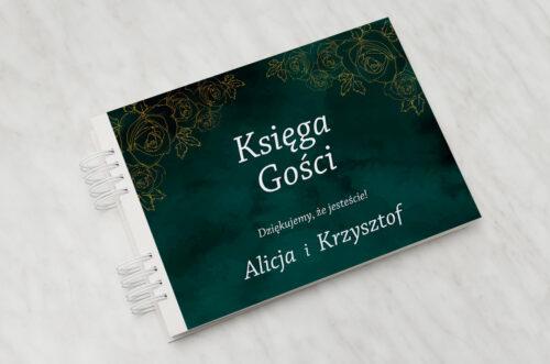 Księga gości ślubnych - Kontrastowe z nawami - Złote Różyczki