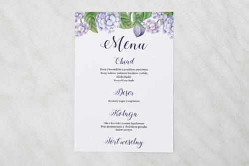 Menu weselne - Kwadratowa kartka - Niebieskie Hortensje