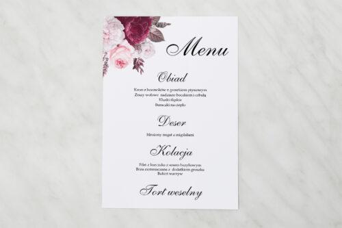 Menu weselne pasujące do zaproszenia Geometryczne Kwiaty - Amarantowy bukiet