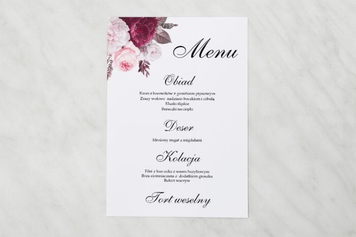 menu-weselne-pasujace-do-zaproszenia-geometryczne-kwiaty-amarantowy-bukiet-papier-matowy