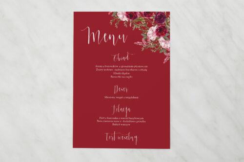 Menu weselne - Akwarelowe Bukiety – Burgundowe róże na ciemnym tle