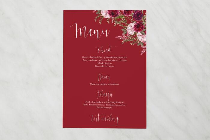 menu-weselne-akwarelowe-bukiety-burgundowe-roze-na-ciemnym-tle-papier-satynowany