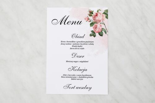 Menu weselne pasujące do zaproszenia Geometryczne ze zdjęciem - Różowe Różyczki