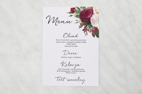 Menu weselne pasujące do zaproszenia Eleganckie kwiaty - Bordowe róże