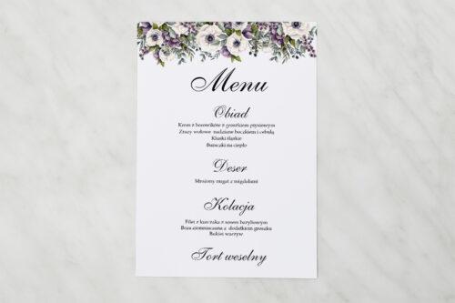 Menu weselne - Kwiatowe Gałązki - Biało-Fioletowe Anemony