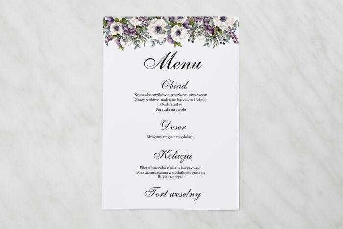 menu-weselne-kwiatowe-galazki-bialo-fioletowe-anemony-papier-satynowany