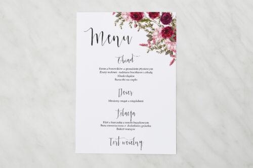 Menu weselne - Akwarelowe Bukiety – Burgundowe róże na jasnym tle