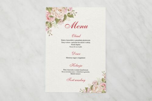 Menu weselne do zaproszenia Angielskie Róże – Pudrowe