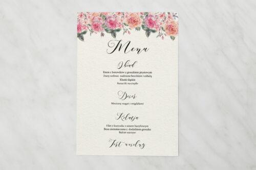 Menu weselne do zaproszenia Angielskie Róże – Różowe i Herbaciane