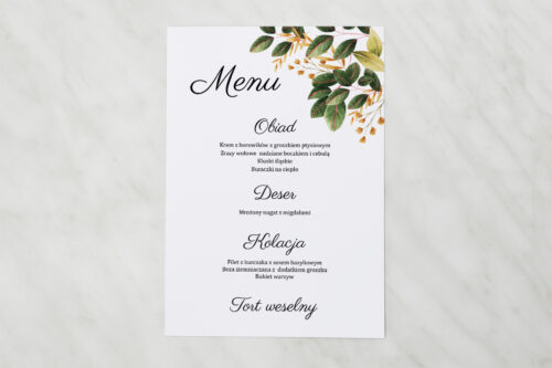 Menu weselne pasujące do zaproszenia Botaniczne Jednokartkowe - Jesienna kompozycja
