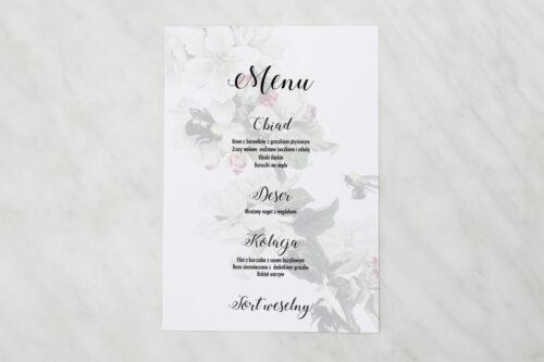 Menu weselne pasujące do zaproszenia Botaniczne Jednokartkowe - Kwiat Jabłoni