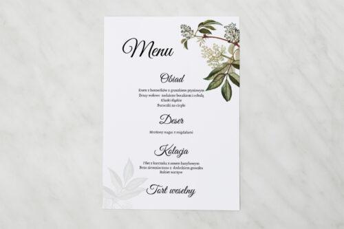 Menu weselne pasujące do zaproszenia Botaniczne Jednokartkowe - Czarny bez