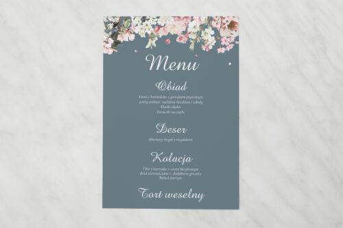 Menu weselne pasujące do zaproszenia Duże Inicjały - Kwiaty Wiśni