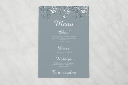 Menu weselne pasujące do zaproszenia Duże Inicjały - Kwiatuszki Polne