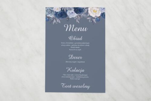 Menu weselne pasujące do zaproszenia Duże Inicjały - Niebieskie Róże