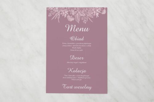 Menu weselne pasujące do zaproszenia Duże Inicjały - Konturowe Kwiaty