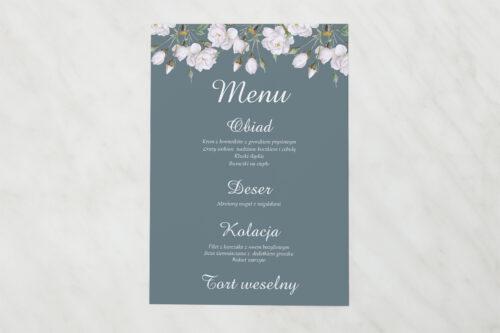 Menu weselne pasujące do zaproszenia Duże Inicjały - Białe Róże