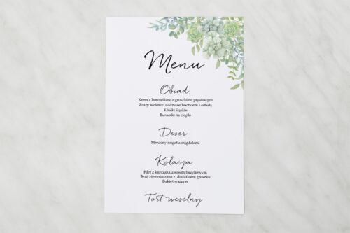 Menu weselne pasujące do zaproszenia Eleganckie kwiaty - Sukulenty