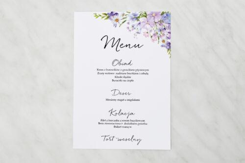 Menu weselne pasujące do zaproszenia Eleganckie kwiaty - Polny wianek