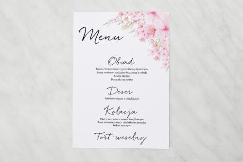 Menu weselne pasujące do zaproszenia Eleganckie kwiaty - Kwiaty wiśni