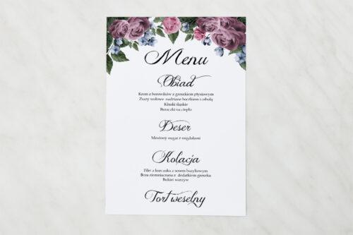 Menu weselne do zaproszenia Botaniczne – Fioletowe róże