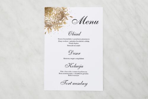 Menu weselne pasujące do zaproszenia Geometryczne Kwiaty - Złoty bukiet
