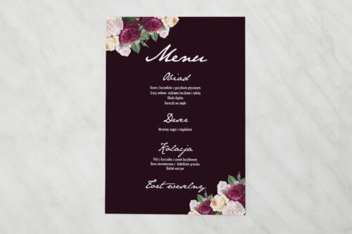 Menu weselne pasujące do zaproszenia Kontrastowe z kwiatami - Kolorowe róże