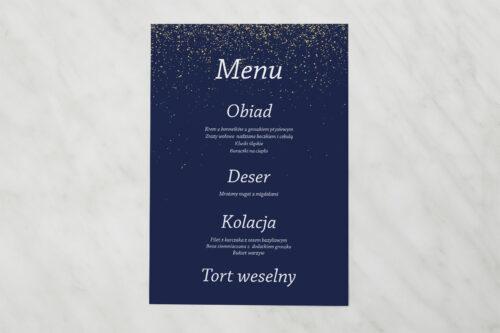 Menu weselne pasujące do zaproszenia Kontrastowe z nawami - Niebo Pełne Gwiazd