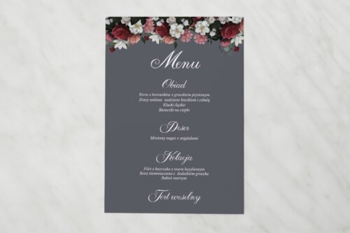 Menu weselne pasujące do zaproszenia Kwiatowe Nawy - Burgundowy bukiet