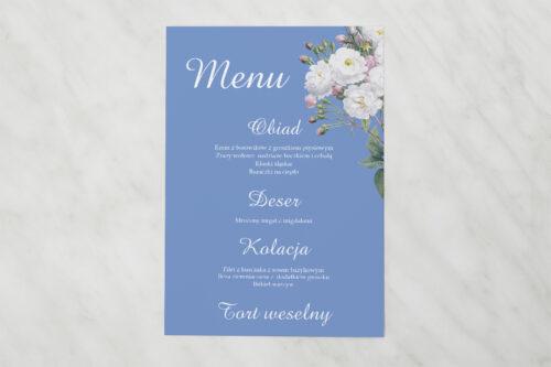 Menu weselne pasujące do zaproszenia Kwiatowe Nawy - Białe róże