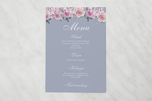 Menu weselne pasujące do zaproszenia Kwiatowe Nawy - Różowe różyczki