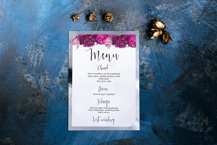 menu-weselne-kwiatysrebro-fuksjowe-piwonie-papier-matowy-podkladki--foliowanie-