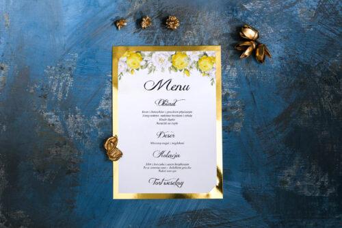 Menu weselne Kwiaty&Złoto - Żółte róże