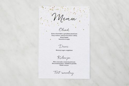 menu weselne - minimalistyczne ze złotymi kropeczkami