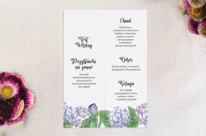 menu składane z niebieskimi hortensjami