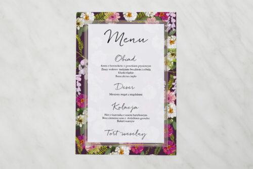 Menu weselne pasujące do zaproszenia Tło z kwiatów – Kolorowe astry