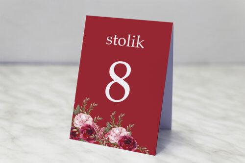 Numer stolika pasujący do zaproszenia Akwarelowe Bukiety – Burgundowe róże na ciemnym tle
