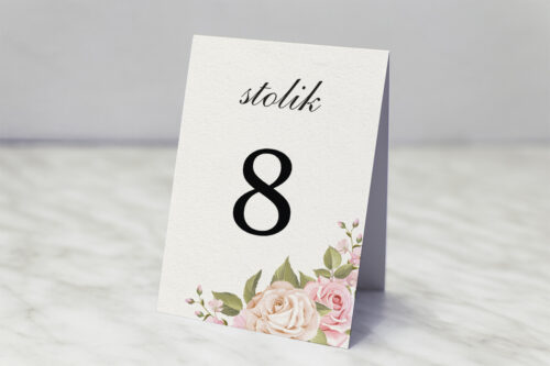 Numer stolika do zaproszenia Angielskie Róże – Pudrowe