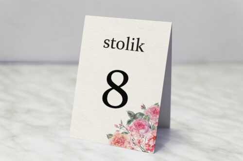 Numer stolika do zaproszenia Angielskie Róże – Różowe i Herbaciane