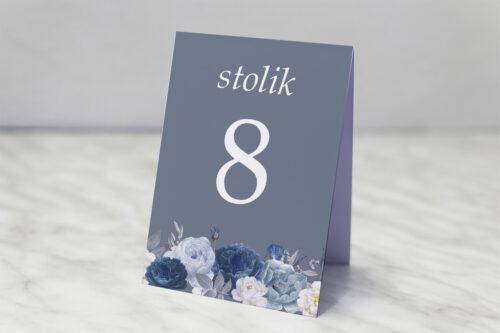 Numer stolika pasujący do zaproszenia Duże Inicjały - Niebieskie Róże