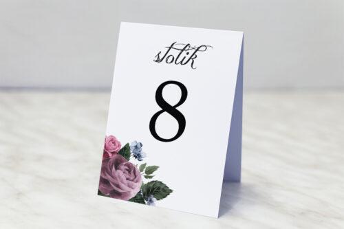 Numer stolika do zaproszenia Botaniczne – Fioletowe róże