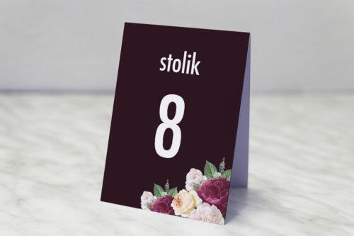 Numer stolika pasujący do zaproszenia Kontrastowe z kwiatami - Kolorowe róże